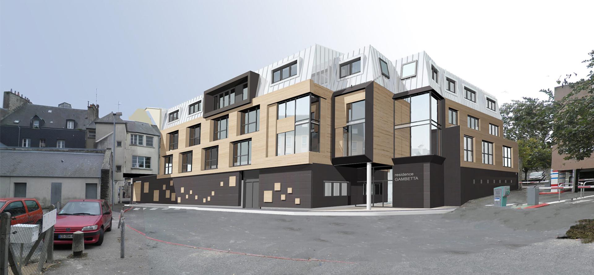 ACAU Cherbourg - Vue nouveaux logements côté cour